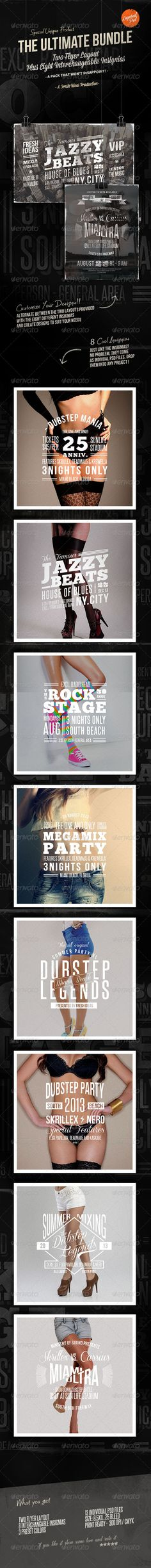 The Ultimate Bundle : Flyers / Insignias  #GraphicRiver           The Ultimate Bundle: Flyers / Insignias  In this bundle you'll find unified our last 2 collections (Vintage Set Vol.1 and Vintage Set Vol.2. It's made of five flyer layouts with three preset vintage colours, one frame design, and eight interchangeable insignias.  These insignias have been designed to make up the heart of the flyers. You just have to drop them on each layout to get a multitude of variations. So included in…