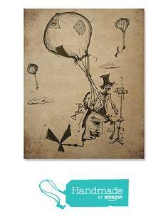 Flying Machine Art Print / Balloon Print / Aviation Print / Vintage Wall Art / Steampunk Art Print / Home Decor / 8 x 10 / 18 x 24 from Fuzzy Ink https://smile.amazon.com/dp/B072C2NVXG/ref=hnd_sw_r_pi_dp_xgHqzb61ABDQT #handmadeatamazon