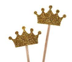 10 Cupcake-Toppers Gold Glitter Krone von ChristianePaper auf Etsy