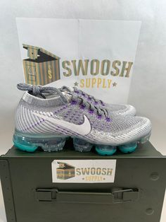 cheap for discount be769 500b1 Nike Women s Air Vapormax Flyknit Grape Cool Grey White 922914 002 Size 7  New  Nike
