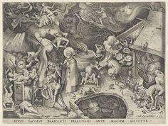 Jakobus de Meerdere ontmoet de magiër Hermogenes, Pieter van der Heyden, Hieronymus Cock, 1565