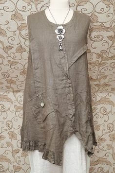 Gorgeous Mocha Taupe Linen Dress Tunic Italian Lagenlook Layering Top So Quirky | eBay