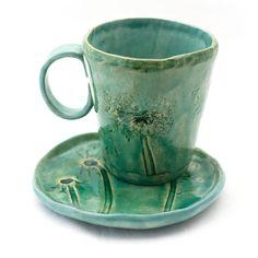 dandelions set, mug and plate