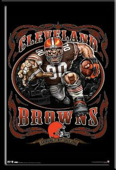 Cleveland Browns Grinding It Out Team Mascot Poster Open Edition NFL Sports Art Cleveland Browns History, Cleveland Browns Football, Cleveland Rocks, College Football Logos, Sport Football, Football Signs, Go Browns, Browns Fans, Pumas