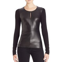 Bailey 44 Nico Mixed-Media Faux-Leather Top ($180) ❤ liked on Polyvore featuring tops, apparel & accessories, black, sweater pullover, faux leather top, black faux leather top, black pullover and long sleeve tops