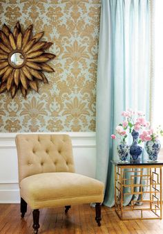 West Indies Damask #grasscloth #wallpaper in #metallic #gold on #aqua from the…