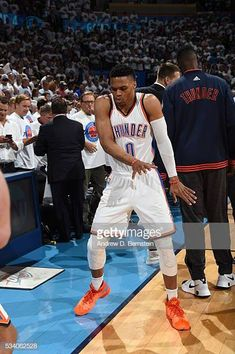 438fd5bf6874 Russell Westbrook of the Oklahoma City Thunder dances before facing the  Golden State Warriors for Game