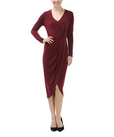 This CQbyCQ Burgundy V-Neck Dress - Women by CQbyCQ is perfect! #zulilyfinds