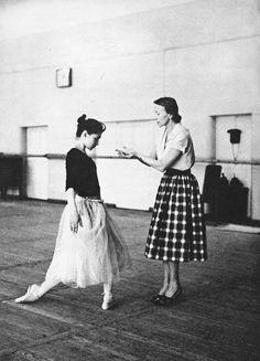 Galina Ulanova coaching 19 year old Ekaterina Maximova for her debut in Giselle. 1959-60.
