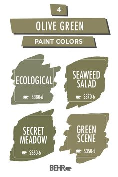 If you're looking for a color palette that has a natural tone with a hint of color, look no further than these 4 olive green paint colors from Behr. These beautiful hues will add an earthy tone to any wall. Click below to find your perfect shade.