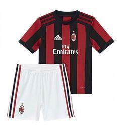 AC Milan Home Kids Kit Children Shirt And Shorts - Cheap Football Shirts Store Ac Milan, Cheap Football Shirts, Kids Shirts, Jersey Shirt, T Shirt, Soccer Shop, Team Uniforms, Football Kits, Kits For Kids