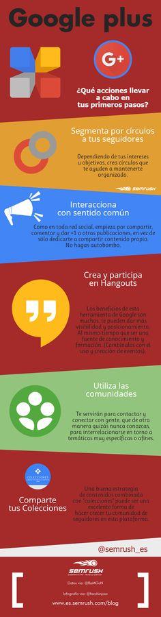 Google Plus ¿Qué acciones llevar a cabo en tu primeros pasos? vía @semrush @josefacchin #infografia #Googleplus