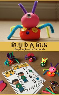Printable Build a Bug Playdough Activity Cards for preschool, pre-k, and kinderg… – Kindergarten Activity – art therapy activities Insect Activities, Playdough Activities, Pre K Activities, Kindergarten Activities, Preschool Crafts, Math Literacy, Preschool Number Activities, Preschool Bug Theme, Montessori Preschool