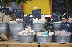 Love the Galvanized tubs and chalkboard signs.  Salt Spring Island , British Colombia