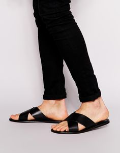 ASOS Sandals in Leather With Cross Over Strap