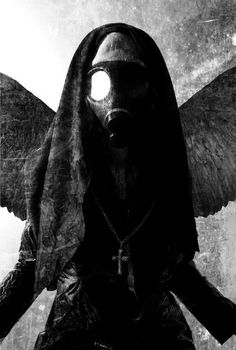 When researching mourning masks this image came up. Although a recent piece, I saw that it represented the gas masks used in World War I, and the black angel, presumably of death. This idea of a mask being used for a practical, safety purpose during wartime, combined with the angel of death, I found interesting.