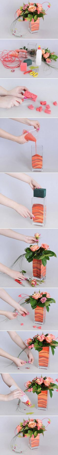 DIY Flower Vase with Sand