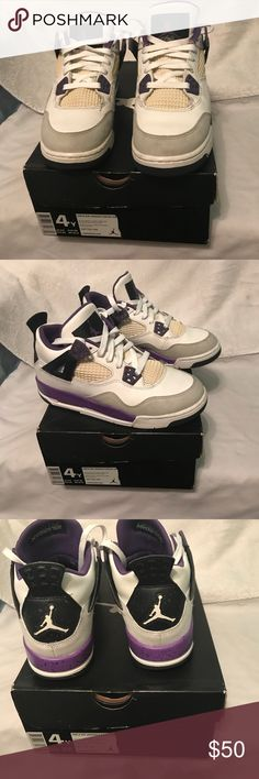 Girls air Jordan 4 retro Shoes are in excellent condition 8/10, youth size 4, women size 5.5 Jordan Shoes Sneakers