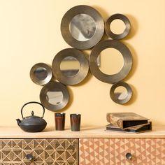 Metalen SAADIEN spiegel met bronzen effect H 79 cm
