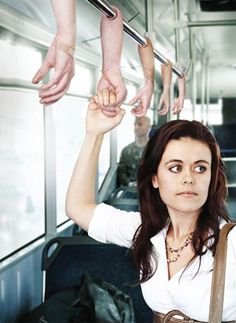 'Hand' handles on the bus or train. That's not creepy AT ALL.