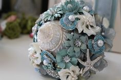 Custom created brooch bouquets – Jeweled Bouquets by Danielle Aspinwall Beaded Bouquet, Brooch Bouquets, Bride Bouquets, Flower Brooch, Metal Flowers, Fake Flowers, Reception Decorations, Wedding Flowers, Decorative Boxes