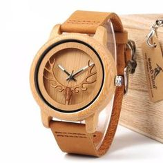 2ff114b70dfb HANDMADE WOODEN BUCK HEAD WATCH Relojes De Madera
