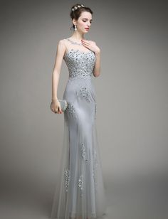 c6f5919507 wear trunks Picture - More Detailed Picture about Beaded Fit Silver Evening  Gowns Tulle Overlay Long Formal Dress Evening Women Dress In Light Grey ...