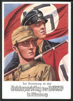 old postcard: AK Nürnberg, Erinnerung an den Reichsparteitag d. NSDAP, SA- & SS-Mann mit Hakenkreuzfahne
