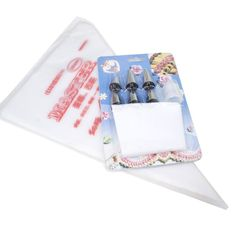 Icing Decorating Set (6 nozzles   1 Converter   1pc Reusable Icing Bag   100 pc Disposable Icing Piping Pastry Bags) => Additional details @ : Baking tools