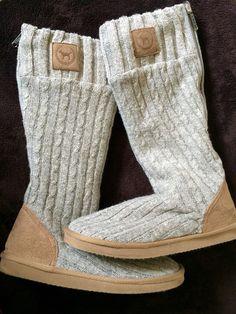Victoria's Secret LOVE PINK Sweater Knit Sock Slippers MUKLUKS Boots M 7/8 #VictoriasSecret #FashionKneeHigh