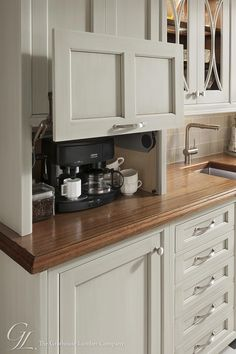 Don't feel limited by a small kitchen space. These 50 designs for kitchen island to inspire you to make the most of your own tiny kitchen. Maximize your kitchen storage and efficiency with these kitchen design ideas and kitchen cabinet design hacks. Custom Kitchen Cabinets, Kitchen Redo, Kitchen Counters, Kitchen Appliances, White Appliances, Kitchen Makeovers, Kitchen Tv, Coffee Corner Kitchen, Wood Countertops