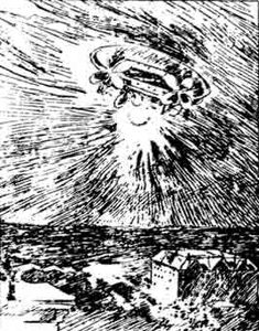 """Eyewitness sketch of the November 17, 1896 Sacramento airship.- In American skies from 1896 to 1897, thousands of people saw what they called """"airships.""""  The first airship was spotted over Sacramento, CA, on the evening of November 17, 1896. On November 23, the Silver State newspaper of Nevada claimed that an airship was seen on November 15th, over Winnemucca, Nevada. By November 23, 1896, newspapers all over California were reporting an airship sighting in San Francisco."""