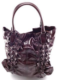 Valentino Histoire Patent Leather Tote Bag Handbag Purple
