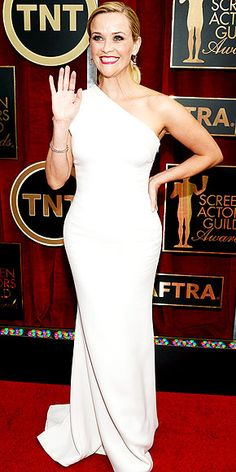 The Night's Most Stunning Dresses   REESE WITHERSPOON   In one of the night's most white-hot trends (yep, that would be white), the nominee sizzles in a custom Giorgio Armani one-shoulder gown with matte sequin detailing along the neckline, plus more than $3.5 million of Harry Winston jewels.