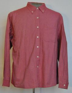 LL Bean Shirt L Womens Button Down Blouse Long Sleeve Red Solid 100% Cotton  #LLBean #ButtonDownShirt #Casual free shipping Buy Now  $19.88