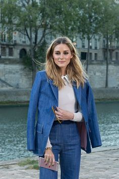 Olivia Palermo poses wearing Paul and Joe before the Paul and Joe show at Les Nautes during Paris Fashion Week SS17 on October 4 2016 in Paris France