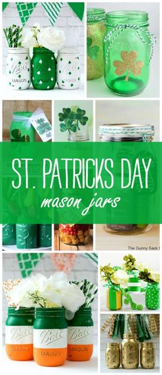 Mason Jar Craft Ideas for St. Patrick& Day Craft Using Mason Jars. Gold Mason Jars with Shamrocks. How to included. Mason Jar Projects, Mason Jar Crafts, Mason Jar Diy, Gold Mason Jars, Painted Mason Jars, St. Patricks Day, Saint Patricks, St Patrick's Day Decorations, Fireplace Decorations