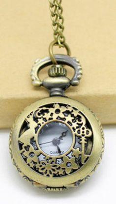 Petite montre à gousset collier dorée Alice Steampunk