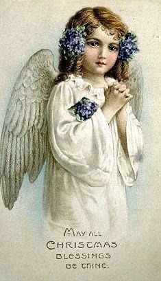 Vintage Christmas Greeting... Beautiful Angel postcard.