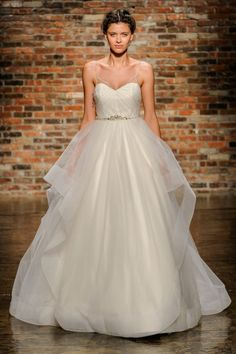 Organza ball gown with beautiful beaded straps and thing beaded crystal belt. Hayley Paige FW14 Dress 11