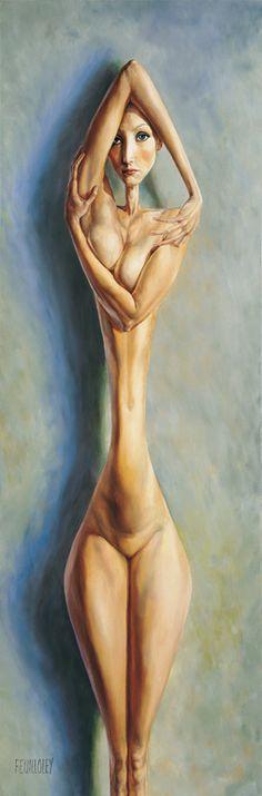 """Saatchi Online Artist: Myriam FEUILLOLEY; Oil, Painting """"REFLEXION"""""""