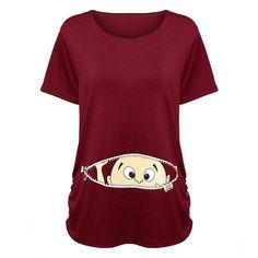Pregnant Women T-shirts Maternity clothes Slim Cute Cartoon Nursing Top O-Neck Pregnancy long Tee shirts Dress ropa embarazada