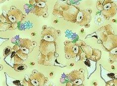 Popcorn the Bear Cotton Quilting Fabric - Fat Quarter - 50 x 55cm