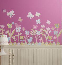 Wallies Flower Garden Peel /& Stick Wall Mural Sticker Dorm