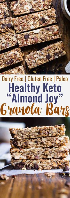 Sugar Free Keto Almond Joy Granola Bars - This low carb granola bars recipe is only 7 simple ingredients and tastes like an Almond Joy! Kids or adults will LOVE these and they're portable and freeze great too! | #Foodfaithfitness | #Keto #Glutenfree #Paleo #Dairyfree #Sugarfree