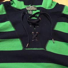 Ralph Lauren women's thermal hoodie Ralph Lauren women's thermal hoodie. 2X. Kangaroo pocket. Navy & green. Worn once. Excellent condition. No trades. Ralph Lauren Tops Sweatshirts & Hoodies