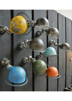How amazing this Industrial Jielde Wall!! Love the different colors, all vintage ones, perfect look! #LaBoutiqueVintage Visit our Jielde lamps at www.laboutiquevintage.co.uk
