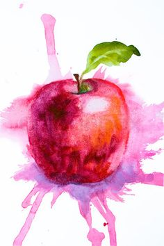 Stock image of 'Stylized watercolor apple illustration'