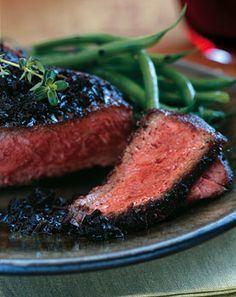 Black-Pepper-Crusted Wagyu New York Steaks with Black Truffle Vinaigrette - I am dying to try truffles Kobe Steak, Kobe Beef, Steak Recipes, Cooking Recipes, Primal Recipes, Smoker Recipes, Wagyu Beef, Black Truffle, Strip Steak