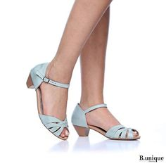 f6dec26e373b B-Unique Kyoto Hand Made Low Heel Sandals for Women 1.6 inch Leather Heeled  Sandal